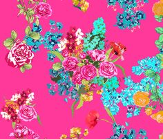 pink floral bouqet  fabric by katarina on Spoonflower - custom fabric