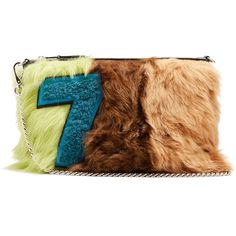 Miu Miu Tri-colour smooth shearling and leather pouch ($1,360) ❤ liked on Polyvore featuring bags, handbags, clutches, multi, evening purses, evening handbags, leather purses, genuine leather purse and multi colored purses