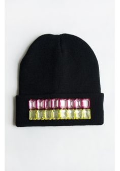 Beaded Pink & Yellow Black Beanie Hat