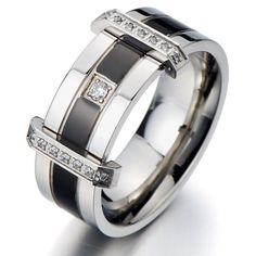 Mens Wedding Band Promise Ring Set with Cubic Zirconia Stainless Steel Comfort Fit 11mm