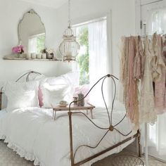 Shabby chic bedroom ideas can give a new look to your old worn and torn bedroom furnishing that look dull and no cuter. If you are planning for a shabby chic look even though the furnishings are ne… White Bedroom Decor, Home Bedroom, Bedroom Furniture, Pretty Bedroom, Shabby Bedroom, Bedroom Ideas, Dream Bedroom, White Bedrooms, Master Bedroom