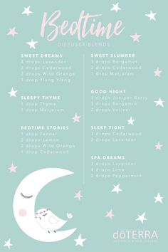 Essential oil diffuser blends to support restful sleep. Bedtime diffuser blends. DoTERRA diffuser recipes. How to order your own oils