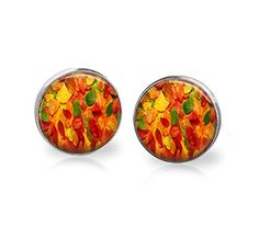 Fall Autumn Leafs Stainless Steel Stud Post Earrings 12mm -- Additional details at the pin image, click it  : Handmade Gifts