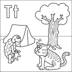 letter t coloring page tortoise tiger teddy tent tree - Letter T Coloring Sheets