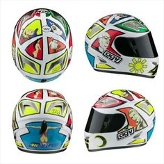 AGV Rossi Mugello – Milo Manara 2006- As has become tradition, Rossi had a specially designed helmet created for the event. The helmet for 2006 was designed by Milo Manara, an Italian artist and writer best known for his graphic novels, comic books, and distinctive erotic art. Manara has a reputation for writing and illustrating comics that feature elegantly drawn, beautiful, and semi-dressed women exploring erotic and fantasy storylines.  The helmet design was not dominated by the sun and…