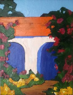 MISSION GARDEN Original Oil Painting 16x20 CALIFORNIA Impressionist Lynne French Art
