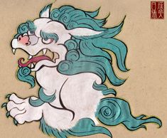 Snow Lion by Naryu. The Snow Lion is from the beliefs of Tibet. The lion has a white body with a turquoise mane and turquoise striped patches on its body. It also has turquoise tufts on it tail and on its legs. His nose tongue and mouth are bright pink or bright red. Its eyes can range from yellow ochre, brown to blue.  The Snow Lion is said to live in the Himalayas but is so scarce that only those with enough positive karma could see such a beautiful beast.