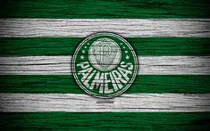 Download wallpapers Palmeiras, 4k, Brazilian Seria A, logo, Brazil, soccer, Palmeiras FC, football club, wooden texture, FC Palmeiras