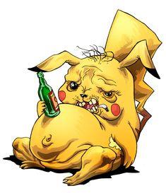 Drunk Obese Pikachu by SebastianvonBuchwald on deviantART