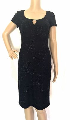 Carmen Marc Valvo Signature Black Jet Beaded Dress - Size 4 - NWT #CarmenMarcValvo #StretchBodycon #Cocktail
