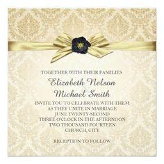 Gold Floral Ribbon Gold Damask Wedding Invite
