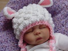 Fuzzy Lamb Hat Newborn to 6 Months, Photo prop, Baby Lamb Hat is adorable! Colors are white and pink made from acrylic yarn. Fits heads 14 to 16