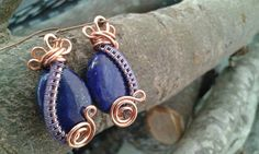 Lapis Lazuli wire wrapped Earrings by HawthornAndTheMoon on Etsy