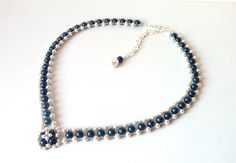 Pearl and Midnight Blue Beaded Jewelry Necklace by MelJoyCreations