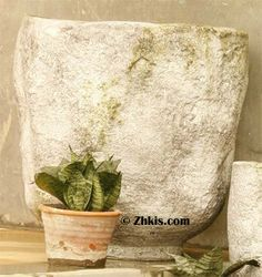Large Primitive Planter Vase - Primitive looking planter vase like something out of the stone age very rustic looking and simple in design. Made of durable fiber stone will take the outside weather year round Large Garden Planters, Garden Planter Boxes, White Planters, Indoor Planters, Planter Pots, Stone Age, Primitive, Carving, Rustic