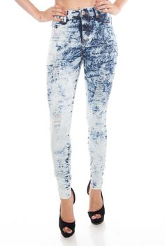 Rock Star Inspiration Distressed High Waist Acid Wash Jeans - Blue from Lolo Jeans at Lucky 21