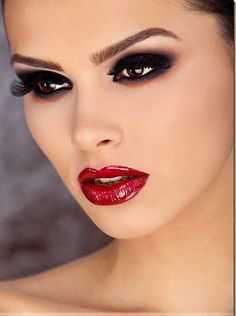 Beautiful Romanian Fashion Model and 3rd Place winner in the Romanian Miss Universe in 2010 smokin eye, fun makeup, dark eyes, save face, red lips, beauti, fab face