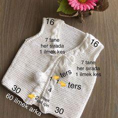 bebek-yelek-modelleri - Hard Tutorial and Ideas Baby Knitting Patterns, Knitting For Kids, Crochet For Kids, Hand Knitting, Knitting Machine, Crochet Baby Jacket, Knit Vest, Baby Cardigan, Knit Crochet