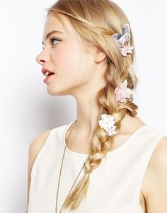 Image 1 of ASOS Pretty Faux Pearl and Butterfly Hair Grips