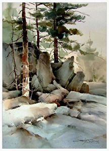 Somewhere in the Rockies by sterling edwards Watercolor ~ 30 x 22