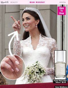 Monday: Kate Middleton's Exact Bridal Manicure — Shop Her Polish Let Kate Middleton's classy bridal manicure inspire you for your own upcoming wedding!Let Kate Middleton's classy bridal manicure inspire you for your own upcoming wedding! Wedding Manicure, Wedding Nails For Bride, Bride Nails, Wedding Nails Design, Weding Nails, Sparkle Wedding, Wedding Makeup, Prom Nails, Wedding Art