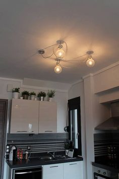 Minimal industrial cable garland ceiling light in many many textile cables.  Porcelain lamp holder E27/E26 , 50cm fabric cable between bulb holders,