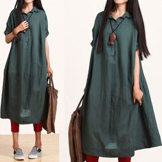 Summer 2014 Plus Size Loose Expansion Linen Dress Turn-Down Collar Short Sleeve Asymmetrical Solid Color Green / Wine Red $68.00