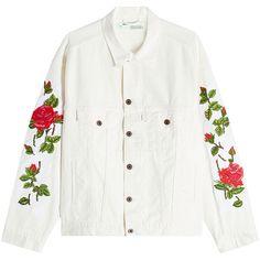 Off-White Printed Ecru Denim Jacket (2.515 BRL) ❤ liked on Polyvore featuring outerwear, jackets, coats, sweaters, white, oversized jean jacket, denim jacket, white denim jacket, oversized jackets and white jean jacket