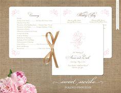 Monogram Wedding Programs - Sweet Swirls Wedding Collection - Custom Ceremony Programs - Folded Card - Personalize for your wedding. $35.00, via Etsy.
