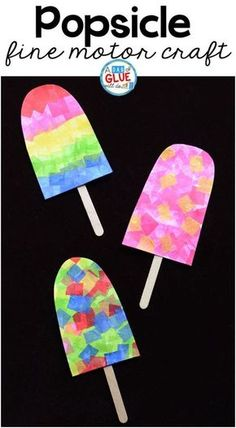 One of the first things my kids think about as soon as the weather warms up is popsicles! So we just couldn't help but make this fun, colorful popsicle fine motor craft. There is a lot of fine motor work involved in pulling, grasping, and sticking the brightly colored tissue paper squares onto the paper.