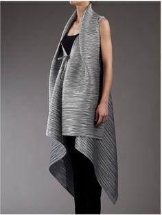 Issey Miyake Pleated Gilet in Silver