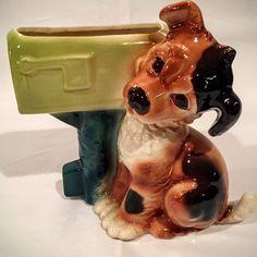 "Vintage 50's Royal Copley 8"" Puppy Dog At US Mailbox Ceramic Porcelain Planter #RoyalCopley"