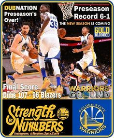 The Warriors end the preseason with an impressive 6-1 record with their 107-96 victory over the Portland Trailblazers. The Dubs tip off the official NBA season this Tuesday October 25th against the San Antonio Spurs! Go Dubs! @oraclearena @nba @nbatv @csnauthentic @klaythompson @stephencurry30 @warriors @trailblazers #StephenCurry #KlayThompson #KevinDurant #Warriors #OracleArena #Roaracle #Trailblazers #NBA #NBATV #CSNBayArea