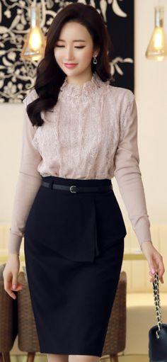 StyleOnme_Front Flap Detail Belted Pencil Skirt #navy #blue #pencilskirt #koreanfashion #kstyle #kfashion #feminine #seoul