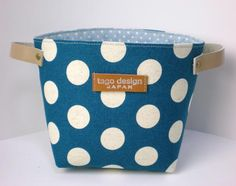 Fabric organizer basket with leather handles - Dots in Teal blue