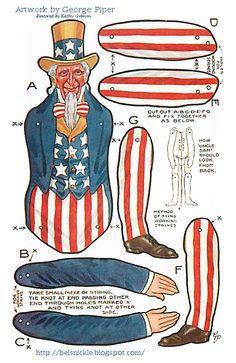 Toy Uncle Sam Paper Vintage Fourth of July Fourth Of July Decor, 4th Of July Celebration, 4th Of July Decorations, 4th Of July Party, July 4th, Patriotic Images, Patriotic Crafts, July Crafts, Holiday Crafts