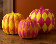 So fun! Funky Harlequin Pumpkins are a great no-carve pumpkin decorating idea. | AllFreeKidsCrafts.com