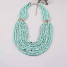 N13489-01newest Style Long multicouche verre rocailles Bling Strands collier