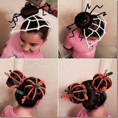 50 Incredible Halloween Hairstyles Super cute pipe cleaner hairstyles - spider and pumpkin patch buns. Love this idea for Halloween, Thanksgiving and maybe even crazy hair day! Crazy Hair Day At School, Crazy Hat Day, Crazy Hats, Crazy Hair Day Girls, Looks Halloween, Halloween Makeup, Halloween Halloween, Vintage Halloween, Holiday Hairstyles