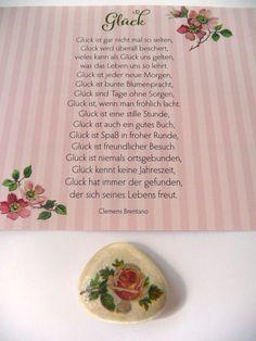 Shabby Stein Glücksstein Glücksbringer Rose Blume romantisch Handmade Handarbeit