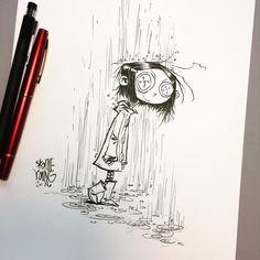 Brush and ink. Arte Tim Burton, Tim Burton Art Style, Skottie Young, Sketchbook Inspiration, Art Sketchbook, Coraline Drawing, Coraline Tattoo, Desenhos Tim Burton, Scary Drawings