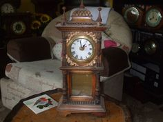 Minature Wooden Grandfather Clock With Quartz Movement