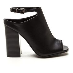 BLACK Subtle Art Ankle Strap Mule Booties ($26) ❤ liked on Polyvore featuring shoes, boots, ankle booties, ankle boots, black, short black boots, black bootie boots, high heel booties, peep toe bootie and black peep toe booties