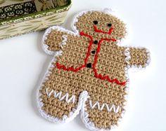 Gingerbread Man Pot Holder Christmas Pot Holder Crochet Pot Holder Pot Holder Hot Mat Hot Pad Trivet Home Decor Housewarming Gift