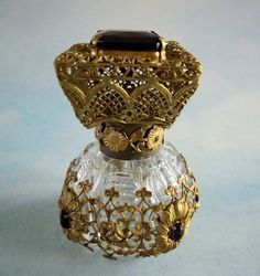 Purple Jeweled Czech Perfume with Ornate Brass Stopper 2 ½ Inches | eBay