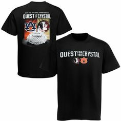 Auburn Tigers vs. Florida State Seminoles (FSU) 2014 BCS National Championship Game Crystal Quest Dueling T-Shirt - Black