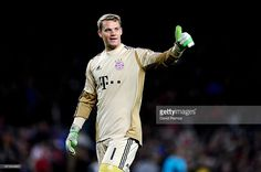 Goalkeeper Manuel Neuer of Munich celebrates during the UEFA Champions League semi final second leg match between Barcelona and FC Bayern Muenchen at Nou Camp on May 1, 2013 in Barcelona, Spain.