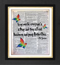 Dr Seuss & Butterflies-ORIGINAL ARTWORK hand painted Mixed Media art print on 8x10 Vintage Dictionary page, Dictionary art, Dictionary print on Etsy, $10.00