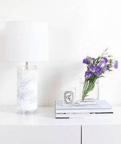 faux marble marble covered lamp diy