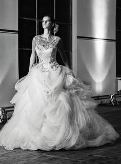Maria Karin Illusion Ball Gown in Tulle This ball gown features an illusion neckline with a dropped waist in tulle and beaded embroidery. It has a chapel train and cap sleeves.   Style Number:32861304 Price:$$ ($3001 - $5000)